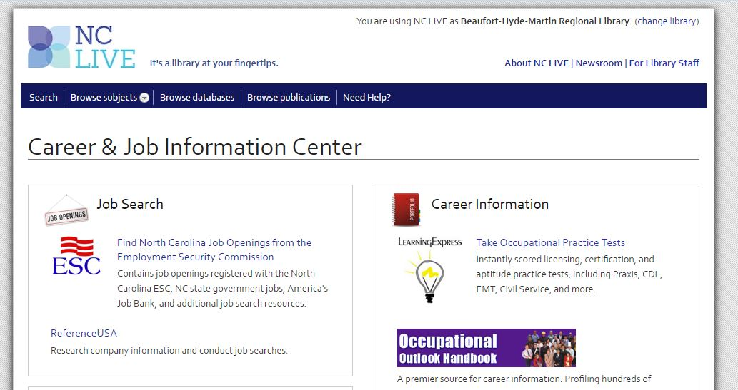 NC Live Career Information Center