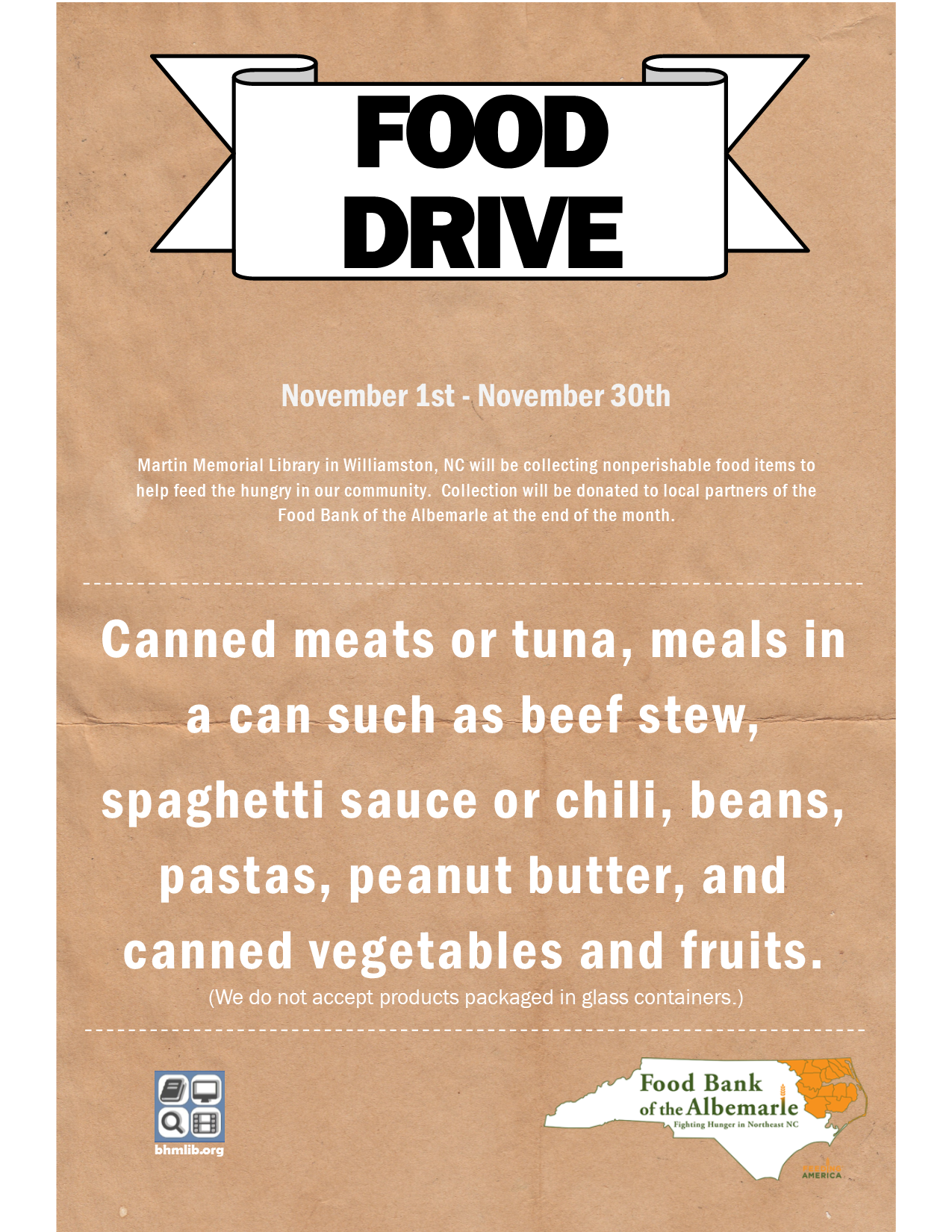 Food Drive at the Martin Memorial Library in Williamston